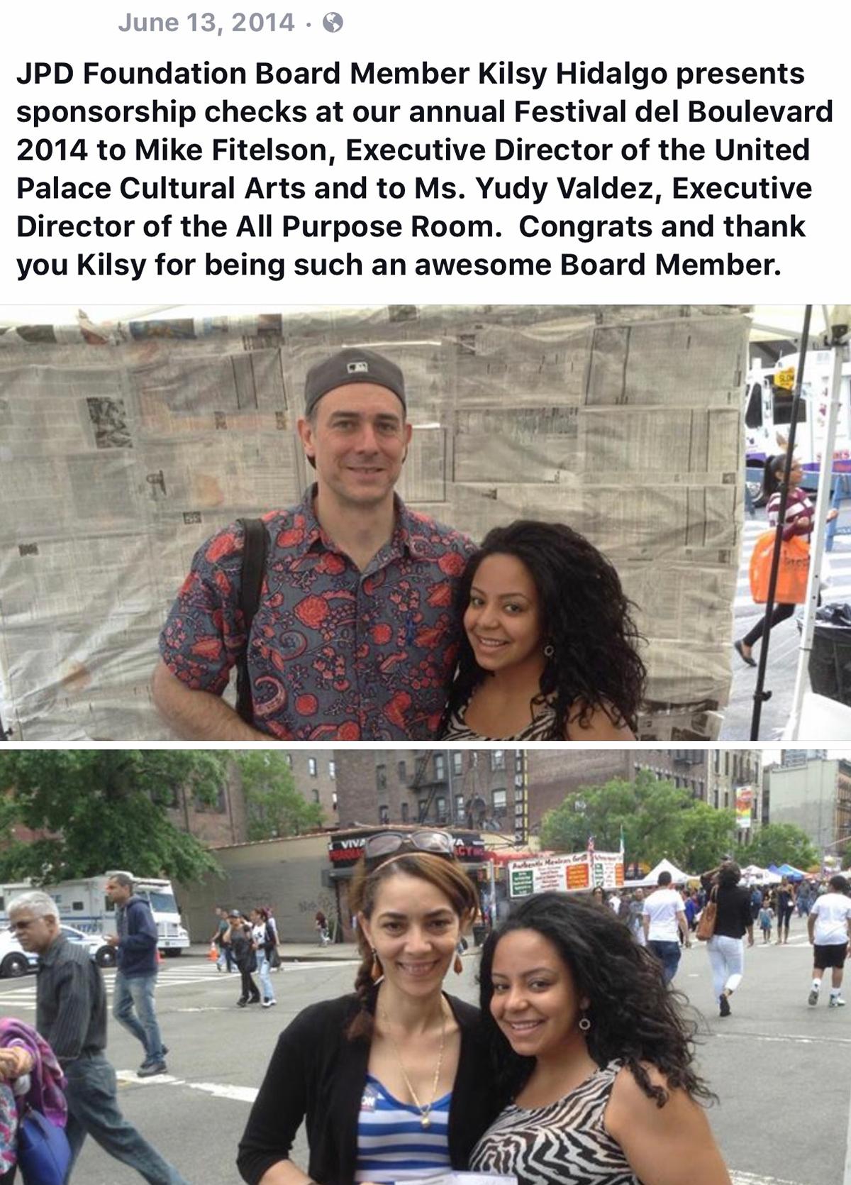 Kilsy Idalgo – Sponsorship Check @ Festival del Boulevard 2014